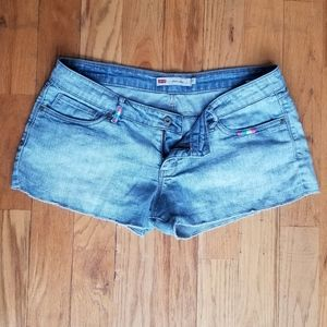 LEVI'S GREAT COND STRETCHY SHORTY SHORT BLUE JEANS